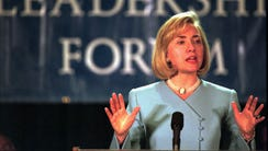 Then-first lady Hillary Clinton at the Democratic National