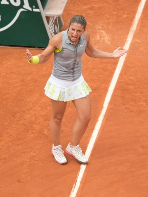 Sara Errani celebrates match point.