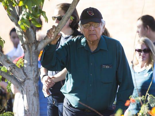 Former Navajo Nation President Peterson Zah waits to