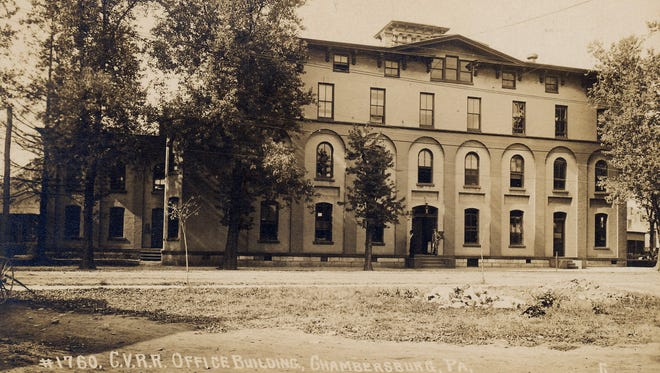 This is what the Cumberland Valley R.R. Office Building looked like circa 1910. This building still stands on North Second Street in Chambersburg.