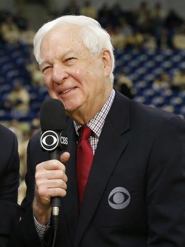 CBS network basketball commentators Kevin Harlan (L)