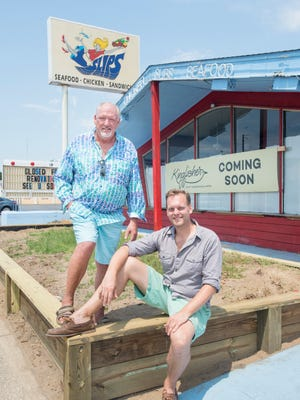 David Owens, stepson of Slips restaurant owner Bobby Macon, left, and Brian Kaderavek, owner of the new Kingfisher Craft Sandwiches & More, pose outside the restaurant on Barrancas Avenue in Pensacola on Friday, June 8, 2018.