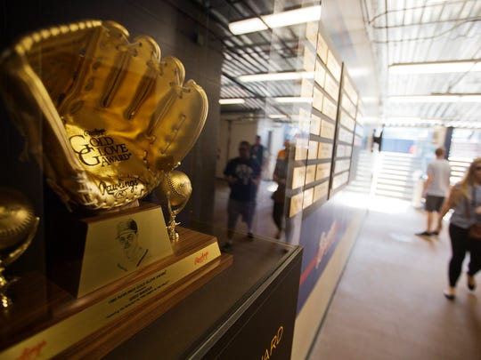 A Golden Glove trophy sits outside the clubhouse at SunTrust Park, the Atlanta Braves' new baseball stadium in Atlanta, Wednesday, March 29, 2017.