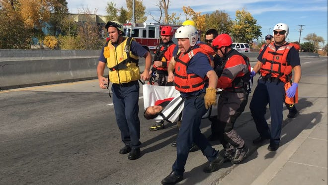 A woman was safely rescued from the Truckee River Thursday, Nov. 10, 2016.