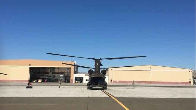 A crew left in a Chinook Wednesday morning to help with Hurricane Harvey efforts in Texas.