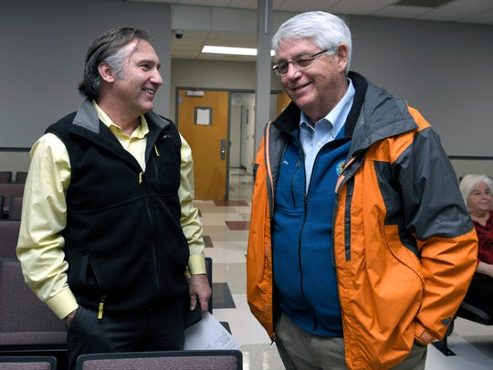 Director of Williamson County Schools Dr. Mike Looney and Williamson County Mayor Rogers Anderson talks about early voting results during election night at the Williamson County Administration Complex in Franklin, Tenn. on Tuesday, Feb. 6, 2018.