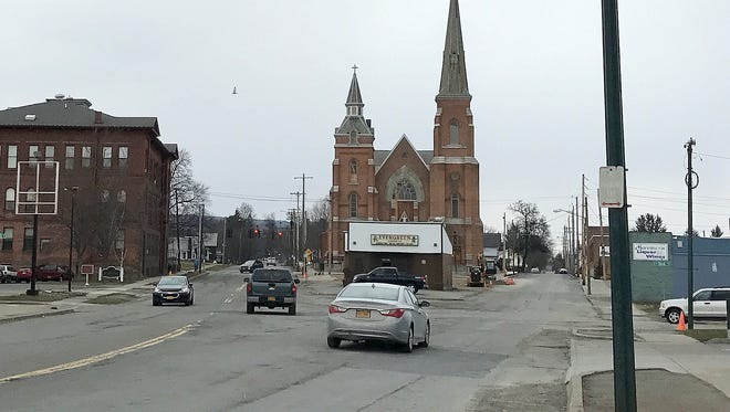 This is how the intersection of North Main Street, Park Place and Third Street in Elmira looks currently. The city plans to replace the intersection with a roundabout.