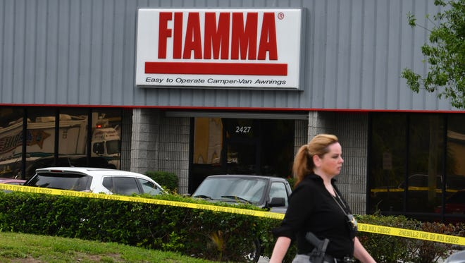 The scene of a mass shooting at in Orlando, Fl. Monday morning. Five are confirmed dead at Fiamma, Inc. a business that makes awnings for campers and RVs. The gunman, a former employee identified as John Robert Neumann, Jr. took his own life.