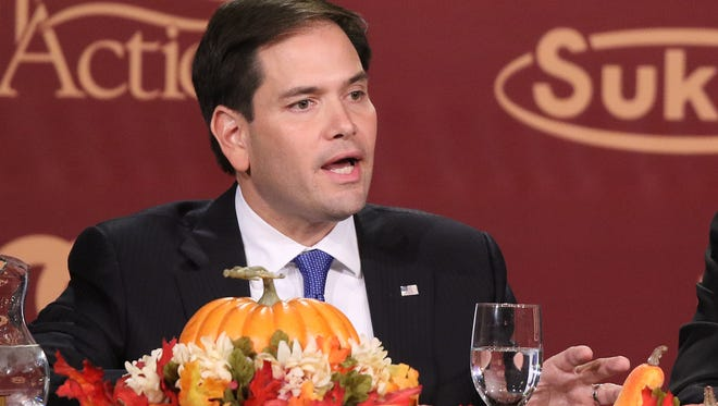 Republican presidential candidate Sen. Marco Rubio, R- Fla., speaks at the Presidential Family Forum in Des Moines on Friday, Nov. 20, 2015.