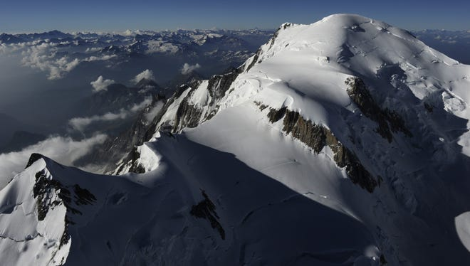 An aerial picture shows the Mont-Blanc, in the French Alps.