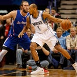 Mar 2, 2015; Minneapolis, MN, USA; Minnesota Timberwolves forward Adreian Payne (3) works against Los Angeles Clippers forward Spencer Hawes (10) in the first quarter at Target Center. Mandatory Credit: Bruce Kluckhohn-USA TODAY Sports