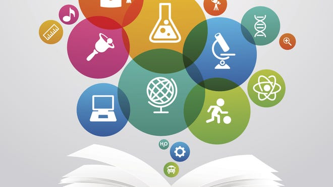 education book with science icons