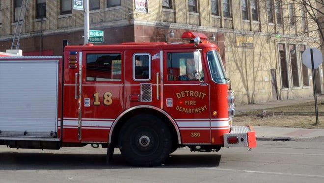 A ladder truck for the Detroit Fire Department.