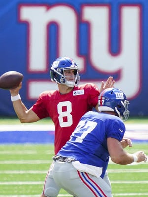 New York Giants quarterback Daniel Jones set franchise rookie records with 459 passes, 284 completions, 3,027 yards and 24 touchdown passes last season. He also threw 12 interceptions and he lost 11 of his 18 fumbles.