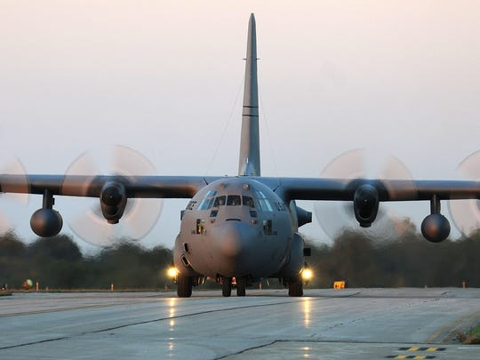 A C-130 cargo plane arrives at the 179th Airlift Wing.