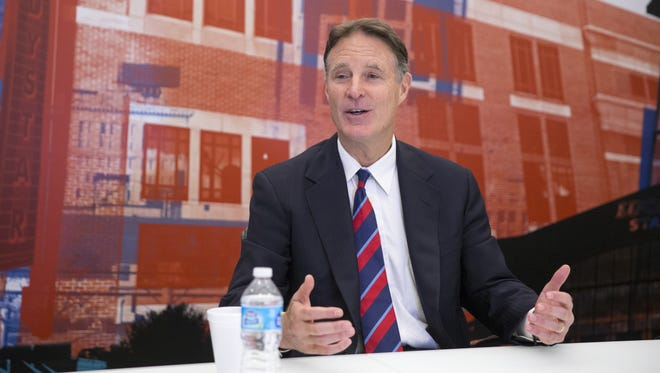 Evan Bayh, former Indiana governor and U.S. senator, meets with editors, writers and editorial board members of IndyStar on Wednesday, Oct. 5, 2016.