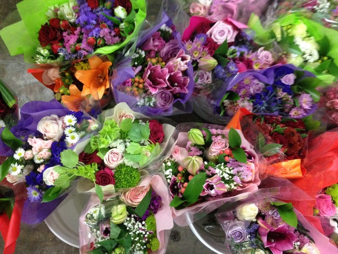 Some of the mixed bouquets in the S&S Floral Wholesale refrigerated warehouse.