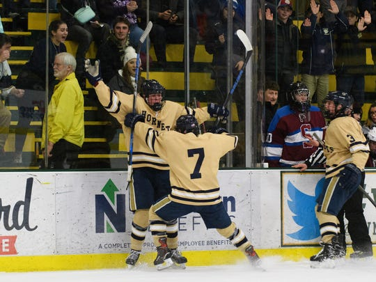 Essex celebrates a goal during the Vermont state Division I boys hockey championship game between Spaulding and Essex at Gutterson Fieldhouse on Monday evening March 19, 2018 in Burlington.