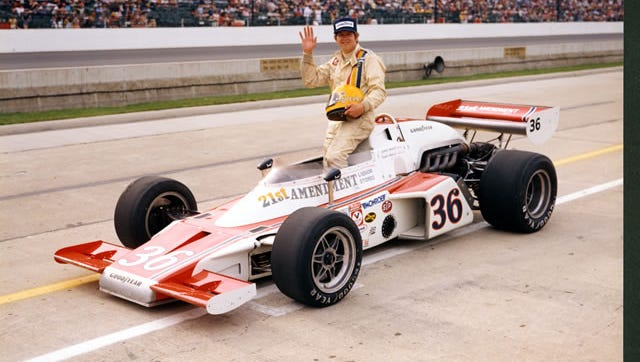 Jerry Sneva poses for a photo after qualifying for the 1977 Indianapolis 500.