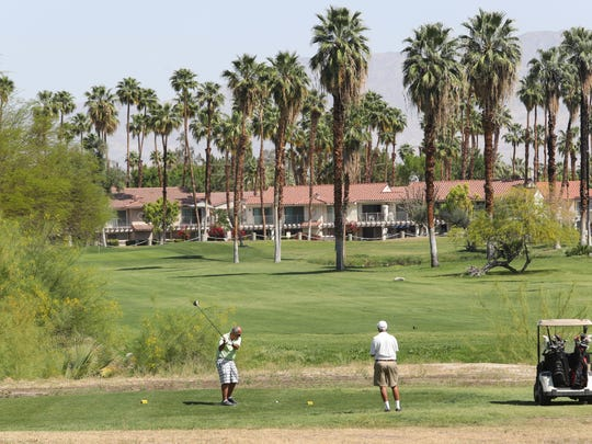 Golfers tee off on the 10th hole at Mesquite Country