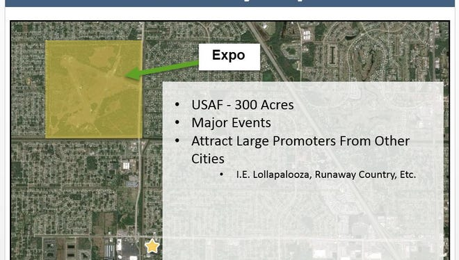This PowerPoint slide depicts the location of the future Palm Bay Expo on Minton Road. The yellow star represents City Hall.