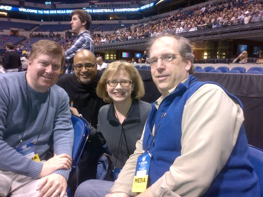 Drew Sharp, second from left, with Free Press sports writers Joe Rexrode, Jo-Ann Barnas and Shawn Windsor at the 2013 NCAA tournament in Indianapolis.