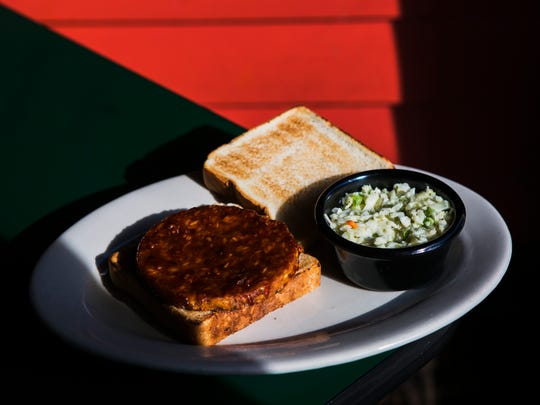 October 25, 2016 - The veggie burger at The Bar-B-Q Shop includes a veggie patty with slaw and sauce on Texas toast.