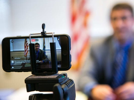 New Castle County Executive Matt Meyer conducts a Facebook Live town hall Thursday from his office near New Castle.