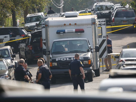 Police investigate the Sept. 25, 2017, shootout on Marshall at Ridge roads in Yonkers in which Yonkers Police Officer Kayla Maher was shot in the jaw. Police are seen Tuesday, Sept. 26, 2017.
