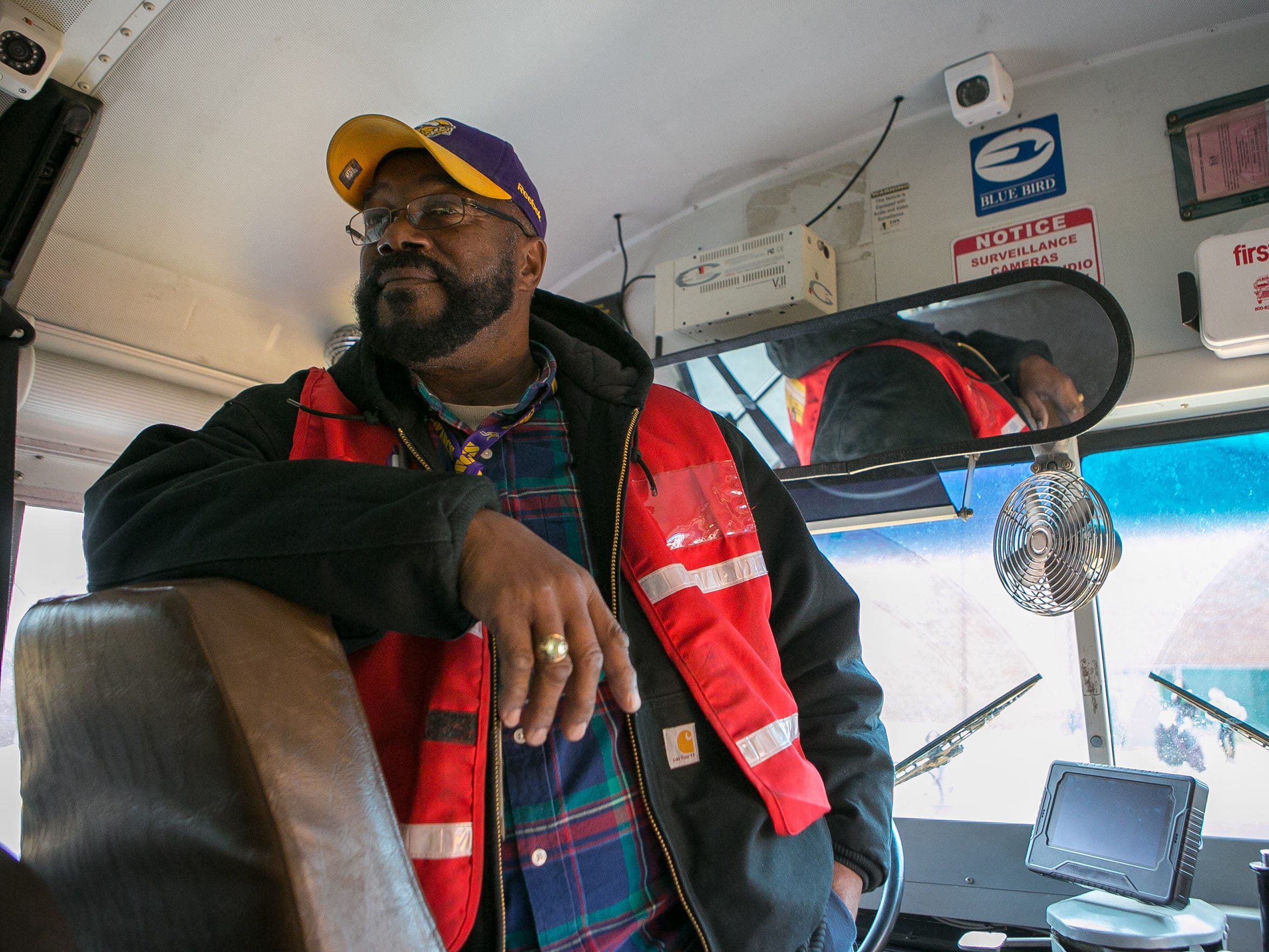 Lead bus driver Montgomery Byrd picks up students at Skyline Middle School in the Red Clay School District.