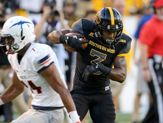 Southern Miss wide receiver Jaylond Adams (3) gets
