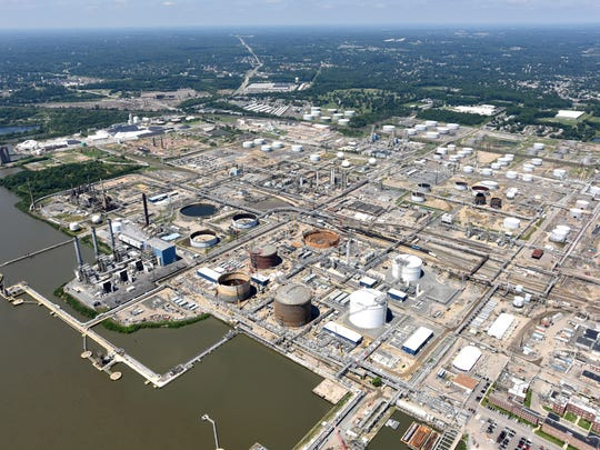 The factories of Marcus Hook, Pennsylvania, just north of Delaware border are shown on Aug. 3. Delaware environmental officials say the state gets 90 percent of its air pollutants from other states.