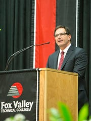 Wilson Jones, President & Chief Executive Officer of Oshkosh Corporation gave the commencement address to graduates of Fox Valley Technical College Sunday at the Kolf Sports Center May 14, 2017.