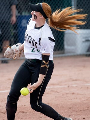 Oshkosh North's Sydney Supple releases a pitch against Sheboygan North during a 2017 regional game.
