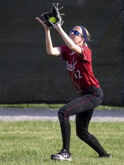 Fond du Lac's Jacy Klaske catches a fly ball in center field Tuesday at Oshkosh West High School during a WIAA sectionals semi-final game against the Wildcats on May 29, 2018.