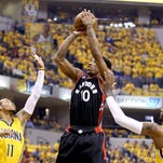 DeMar DeRozan #10 of the Toronto Raptors shoots the ball against the Indiana Pacers in Game 3.
