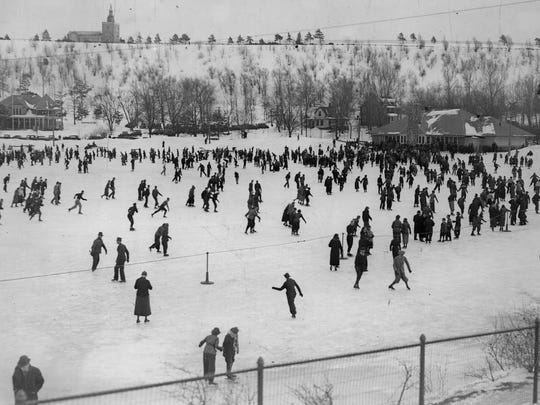 Hundreds of skaters take to the ice in this area called the Eastern Widewaters in Cobbs Hill Park in this circa 1930s photo.