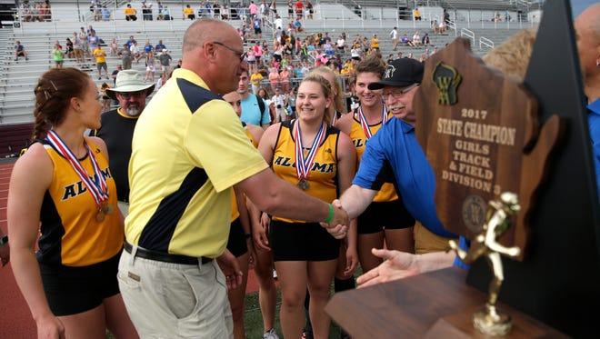 Algoma receives their Division 3 state championship trophy after the WIAA Track and Field Championships Saturday, June 3, 2017, at Veterans Memorial Field Sports Complex in La Crosse, Wis.