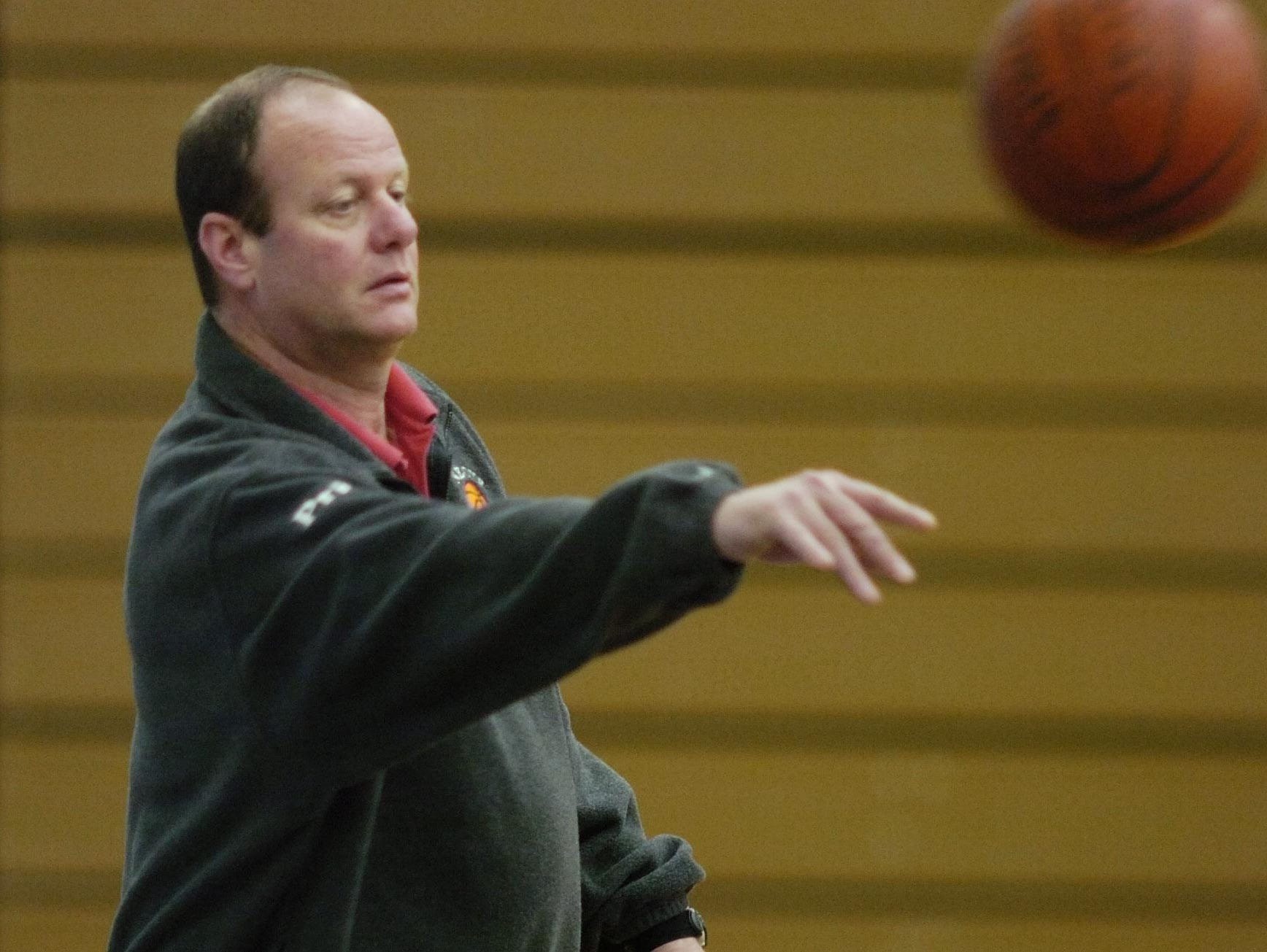 Mark Storm, shown conducting a girls basketball practice at Honeoye in 2006, was not approved by the school's Board of Education to return as the boys basketball coach next season.