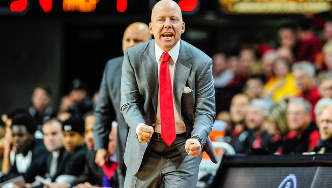 Cincinnati Bearcats head coach Mick Cronin reacts during the first half against the Iowa State Cyclones at James H. Hilton Coliseum.