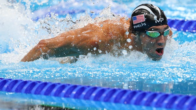 Michael Phelps (USA) during the men's 100m butterfly final at Olympic Aquatics Stadium.