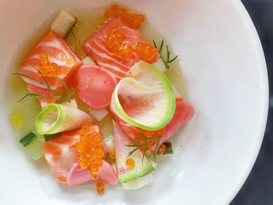 Sea trout crudo with radish and roe from the Apparatus
