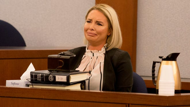Christine Mackinday, the victim and ex-girlfriend of former mixed martial arts fighter War Machine, also known as Jonathan Koppenhaver, gives her testimony during his sexual assault and attempted murder at the Regional Justice Center on Wednesday in Las Vegas.