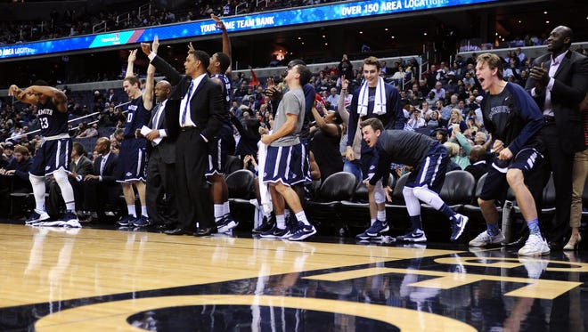 Dec 15, 2015; Washington, DC, USA; Monmouth Hawks bench players celebrate during the second half against the Georgetown Hoyas at Verizon Center. Mandatory Credit: Evan Habeeb-USA TODAY Sports