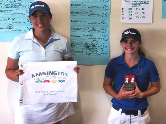 Livonia's Kendall Payne (left) and Kristen Szabelski (right) finished one-two in the Girls 15-18 division.