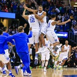 Kentucky celebrates after defeating Notre Dame to  move on to the final four. March 28, 2015