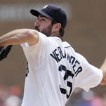Detroit Tigers pitcher Justin Verlander delivers against the Toronto Blue Jays during the first inning of a baseball game Sunday.