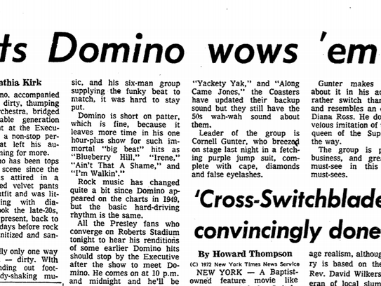 Fats Domino performance review in a 1972 Evansville