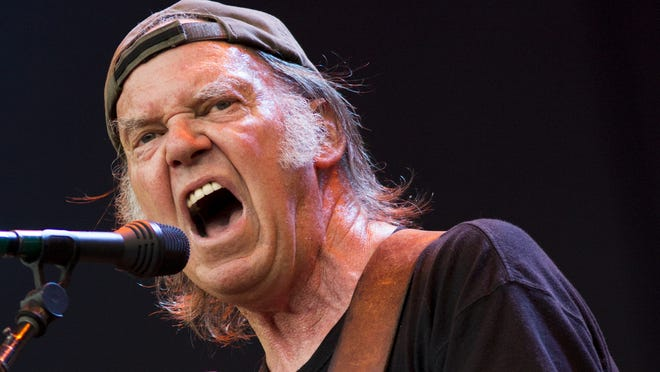 Neil Young and Crazy Horse perform on stage at British Summer Time Festival  at Hyde Park on July 12  in London.