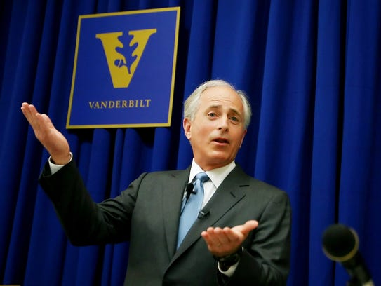 March 31, 2010: Sen. Bob Corker speaks to a group of